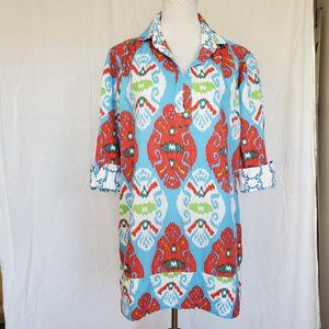 Tizzie Shirt Tunic Top Popover Ikat Boho Print M